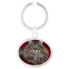 Valentines Day Card2 Oval Keychain