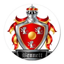 BENNETT COAT OF ARMS FAMILY CREST Round Car Magnet
