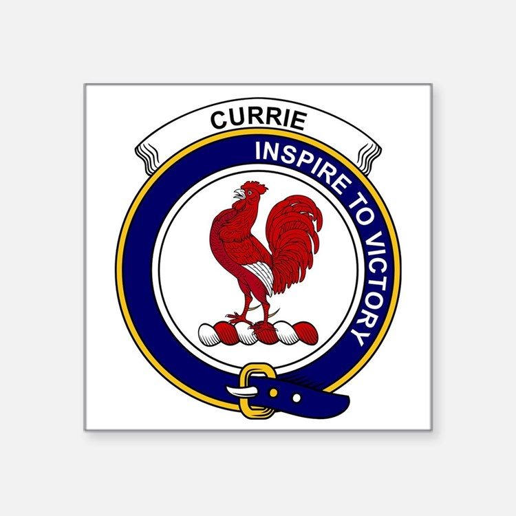 "Currie (or Curry) Clan Badg Square Sticker 3"" x 3"""