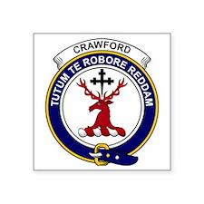 "Crawford Clan Badge Square Sticker 3"" x 3"""