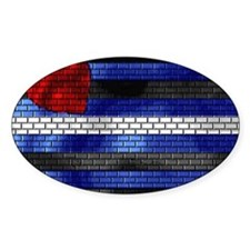 LEATHER PRIDE FLAG/BRICK Oval Decal