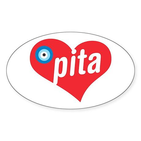 eye heart pita Oval Sticker