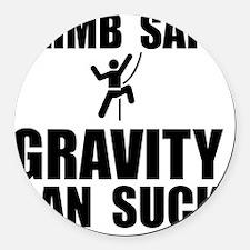 Climb Safe Black Round Car Magnet