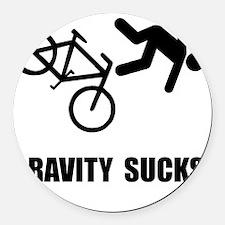 Gravity Sucks Bike Black Round Car Magnet