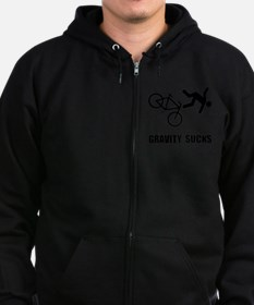Gravity Sucks Bike Black Zip Hoodie