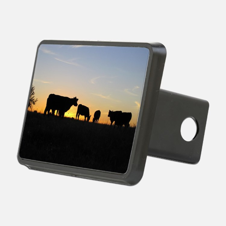 Cows at sundown Hitch Cover