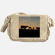 Cows at sundown Messenger Bag