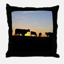 Cows at sundown Throw Pillow