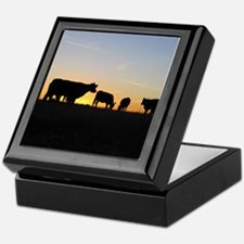 Cows at sundown Keepsake Box
