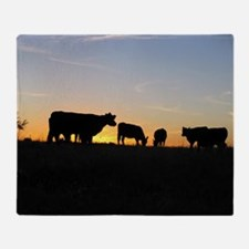 Cows at sundown Throw Blanket