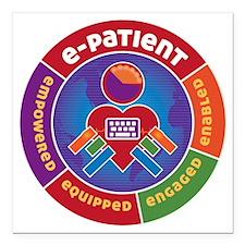 "ePatient Circle Square Car Magnet 3"" x 3"""