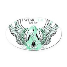 I Wear Teal for my Mom Oval Car Magnet