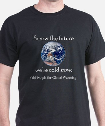 Global Warming Wht Letter T-Shirt