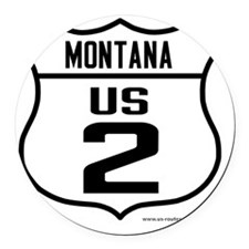 US Route 2 - Montana Round Car Magnet