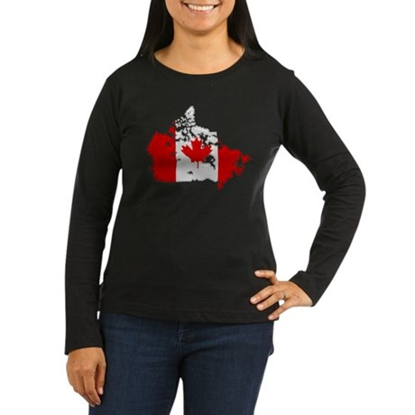 """Pixel Canada"" Women's Long Sleeve Dark T-Shirt"