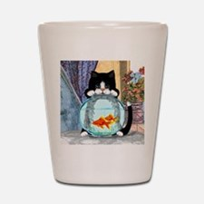 Cat Spying on Fish Shot Glass