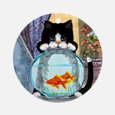 Cat Spying on Fish Round Ornament