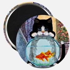 Cat Spying on Fish Magnet