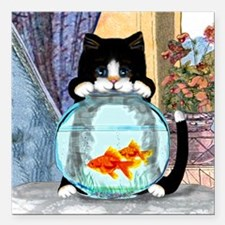 "Cat Spying on Fish Square Car Magnet 3"" x 3"""