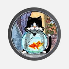 Cat Spying on Fish Wall Clock