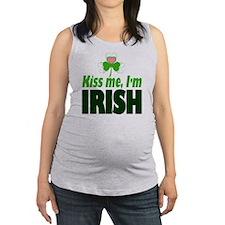 Kiss Me Im Irish Pink Heart Clo Maternity Tank Top