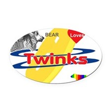 Bear Loves Twinks Oval Car Magnet