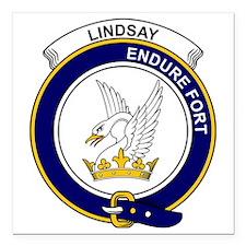 "Lindsay Clan Badge Square Car Magnet 3"" x 3"""