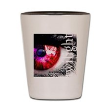 twilight eye with wolf and cut out text Shot Glass
