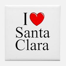 """I Love Santa Clara"" Tile Coaster"
