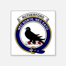 "Rutherford Clan Badge Square Sticker 3"" x 3"""
