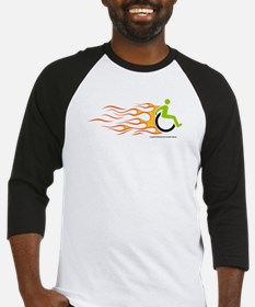 Wheelchair Flames for Him Baseball Jersey