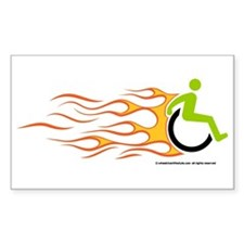 Wheelchair Flames for Him Rectangle Decal