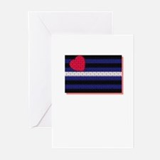 LEATHER PRIDE FLAG/RED SHADOW Greeting Cards (10PK