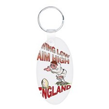 English Rugby - Kicker Aluminum Oval Keychain