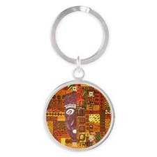 Warm Color pattern Logo Round Keychain