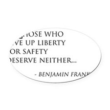 giveupliberty_black Oval Car Magnet