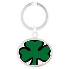 irish_shamrock_KG Oval Keychain