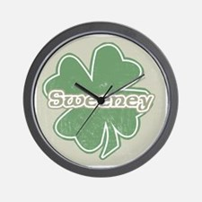"""Shamrock - Sweeney"" Wall Clock"