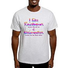 I LIke Rainbows  Unicorns Centered T-Shirt