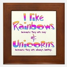 I LIke Rainbows  Unicorns Centered Framed Tile