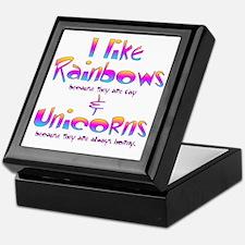 I LIke Rainbows  Unicorns Centered Keepsake Box