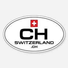UN-Style Oval Automobile Sticker - Switzerland