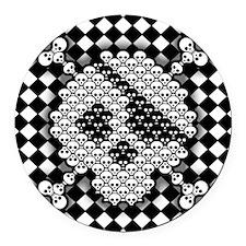 tiled-sk-CRD Round Car Magnet
