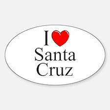 """I Love Santa Cruz"" Oval Decal"