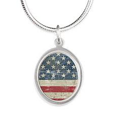 vintageAmerica4Long Silver Oval Necklace