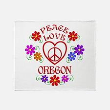 Peace Love Oregon Throw Blanket