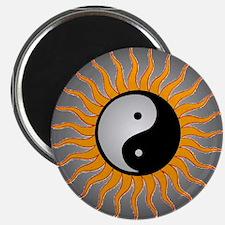 yin yang w black border Magnet