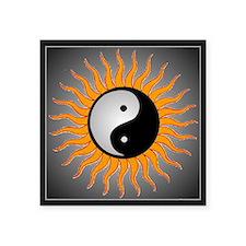 "yin yang w black border Square Sticker 3"" x 3"""