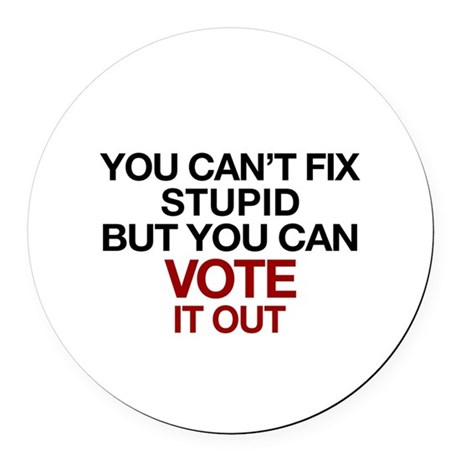 You Can't Fix Stupid Round Car Magnet