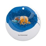 Platypus in space Round Ornaments
